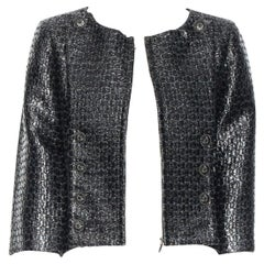 CHANEL black boxy 1/2 sleeves epaulettes crop acrylic mixed tweed jacket FR38 M
