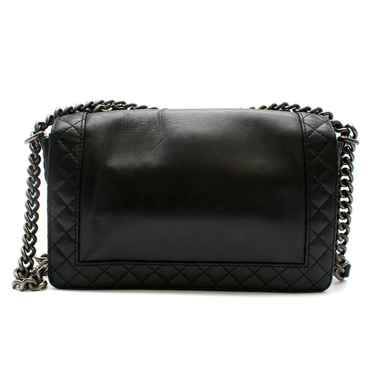 Chanel Black Boy Enchained Flap Bag 28cm In Excellent Condition For Sale In London, GB