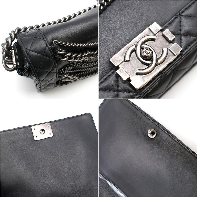 Chanel Black Boy Enchained Flap Bag 28cm For Sale 3