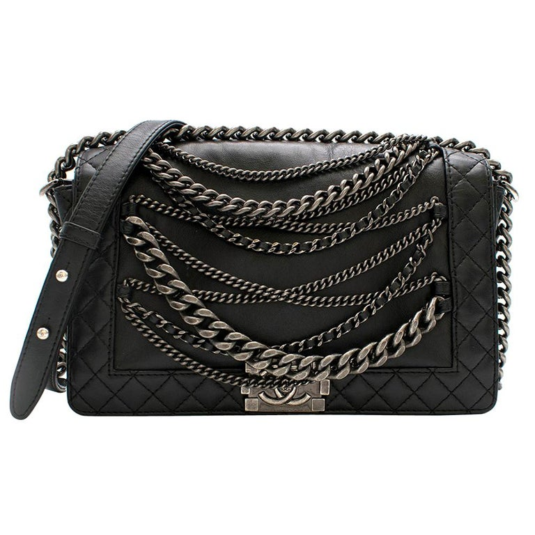 Chanel Black Boy Enchained Flap Bag 28cm For Sale