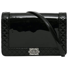 Chanel black boy patent leather handbag