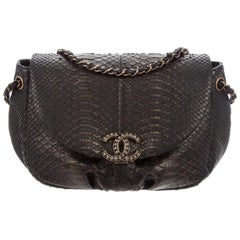 Chanel Black Bronze Snakeskin Exotic Half Moon Small Shoulder Flap Bag