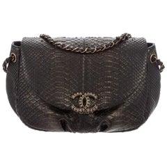 Chanel Black Bronze Snakeskin Exotic Half Moon Small Shoulder Flap Bag