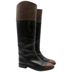 Chanel Black & Brown Leather Knee High Boots SIZE EU 38
