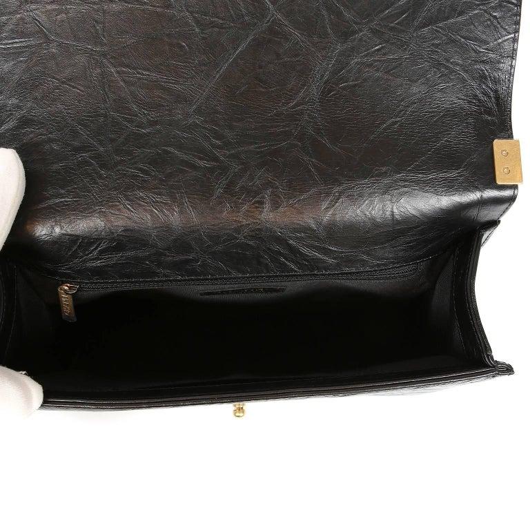 Chanel Black Calfskin Braided Jacket Large Boy Bag For Sale 6