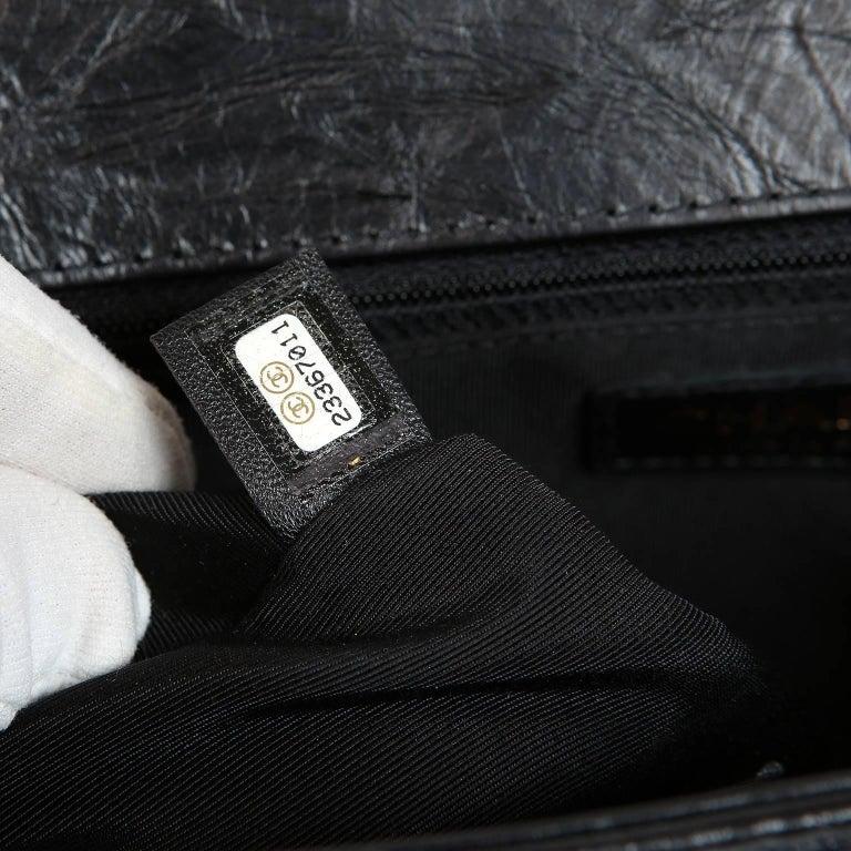 Chanel Black Calfskin Braided Jacket Large Boy Bag For Sale 10