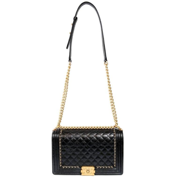 Chanel Black Calfskin Braided Jacket Large Boy Bag For Sale 11