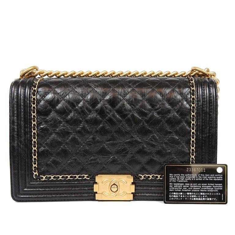 Chanel Black Calfskin Braided Jacket Large Boy Bag For Sale 12