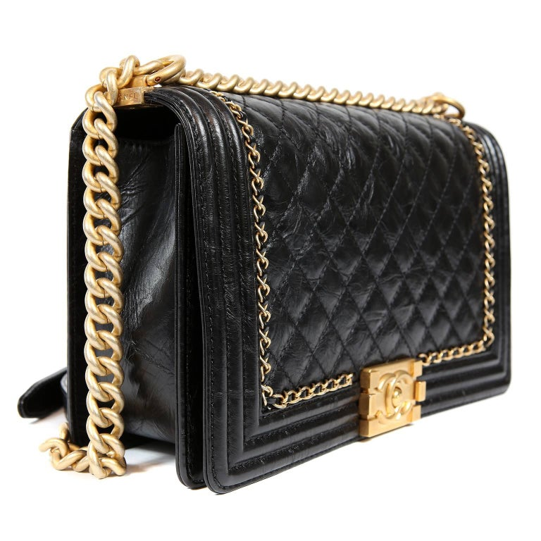 Chanel Black Calfskin Braided Jacket Large Boy Bag In New Never_worn Condition For Sale In Palm Beach, FL