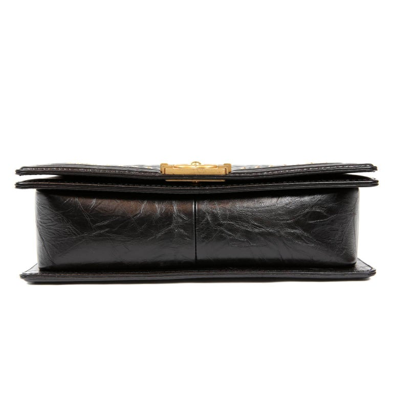 Women's Chanel Black Calfskin Braided Jacket Large Boy Bag For Sale