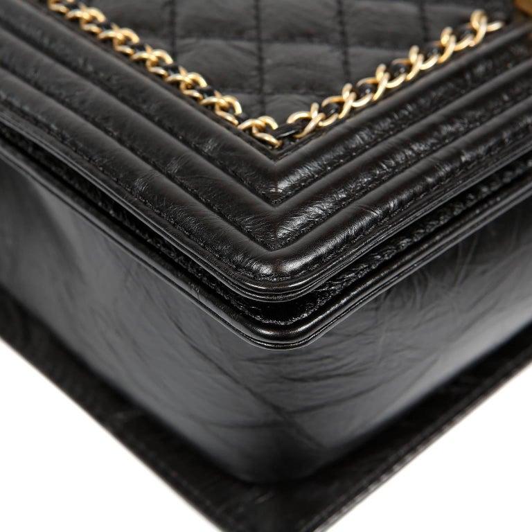 Chanel Black Calfskin Braided Jacket Large Boy Bag For Sale 1