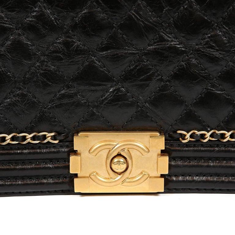 Chanel Black Calfskin Braided Jacket Large Boy Bag For Sale 2