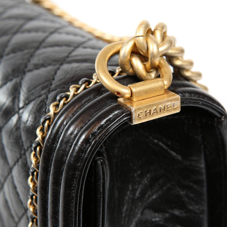 Chanel Black Calfskin Braided Jacket Large Boy Bag For Sale 3