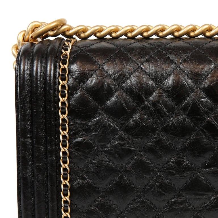 Chanel Black Calfskin Braided Jacket Large Boy Bag For Sale 4