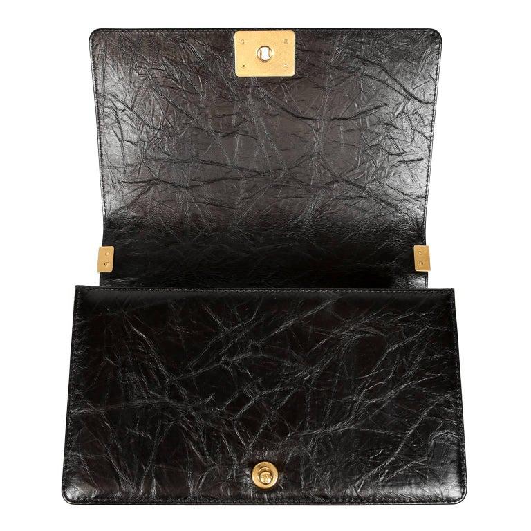 Chanel Black Calfskin Braided Jacket Large Boy Bag For Sale 5