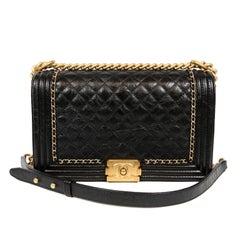 Chanel Black Calfskin Braided Jacket Large Boy Bag