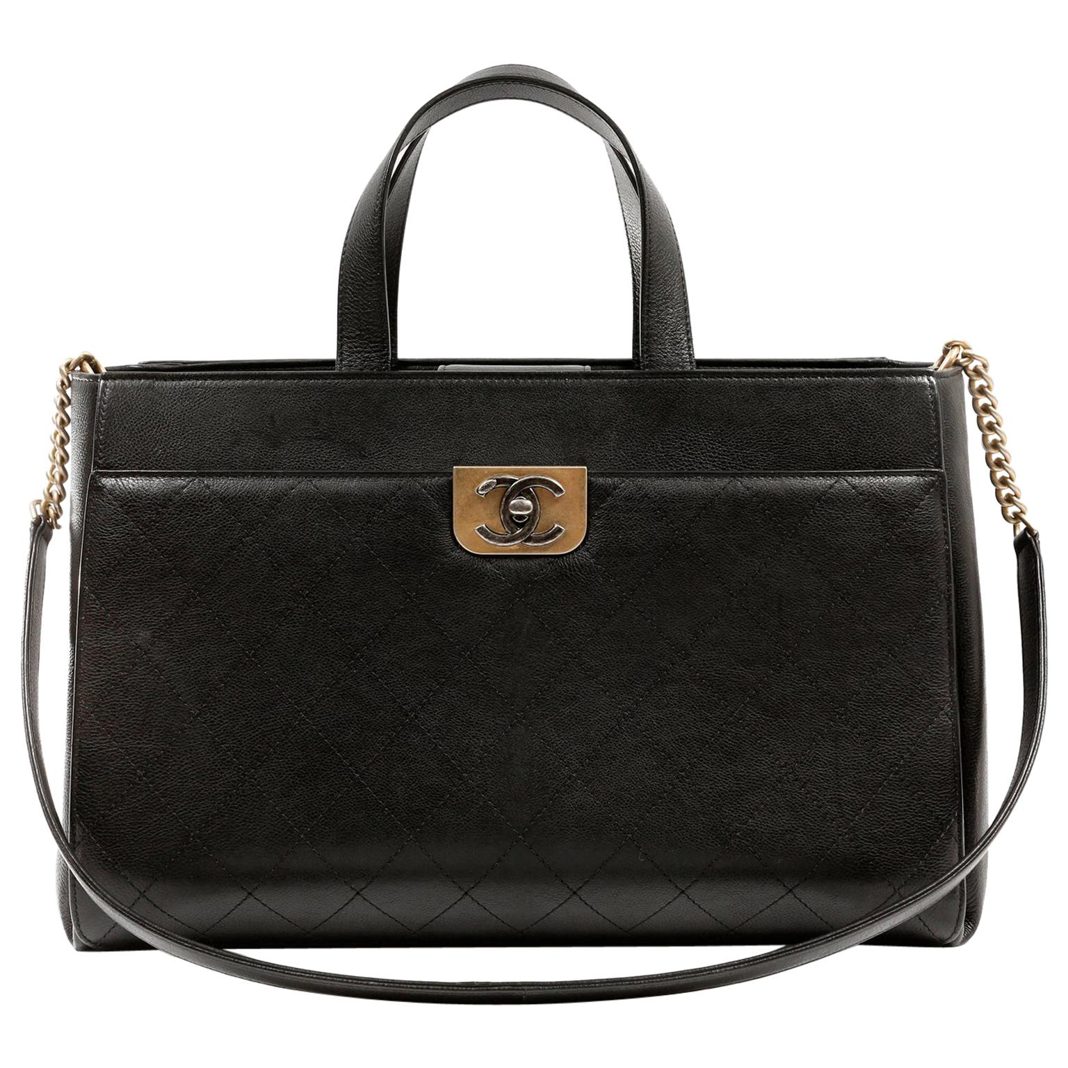 Chanel Black Calfskin Straight Lines Tote
