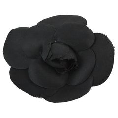 Chanel Black Camellia Brooch