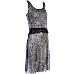 Chanel Black Camellia Chantilly Lace 2 Piece Evening Dress