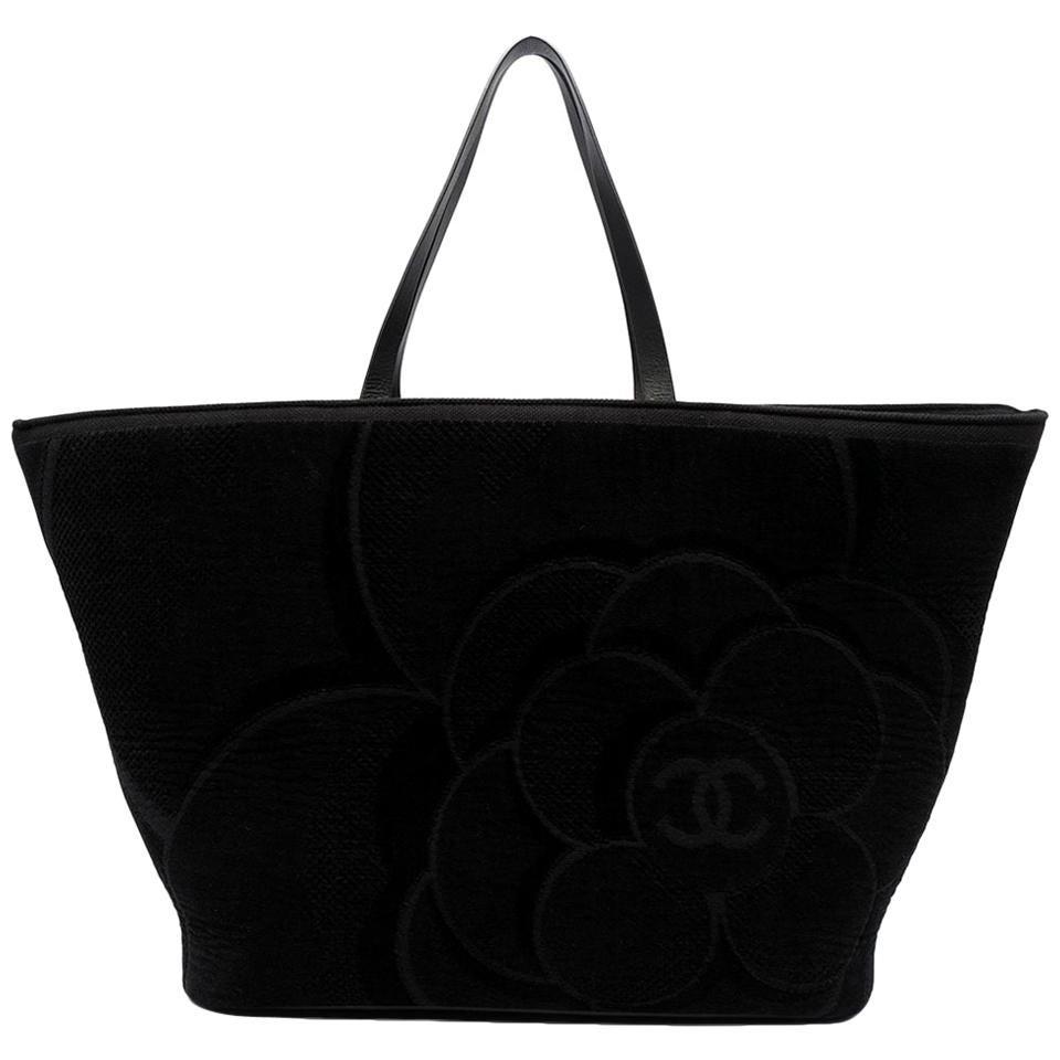 Chanel Black Camellia Cloth Tote