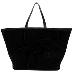 Chanel Black Camellia Cloth Tote