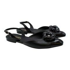 Chanel Black Camellia Embellished Leather Slingback Flats - Size EU 40