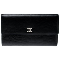 Chanel Black Camellia Embossed Leather Flap Wallet