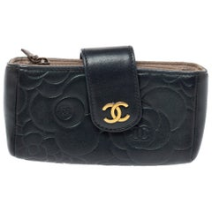 Chanel Black Camellia Embossed Leather iPhone Pouch