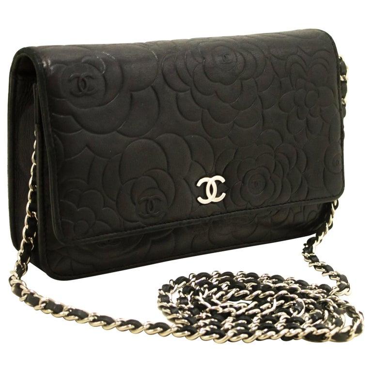 e0a837178b9c5d CHANEL Black Camellia Embossed WOC Wallet On Chain Shoulder Bag For Sale
