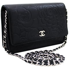 CHANEL Black Camellia Embossed WOC Wallet On Chain Shoulder Bag Leather