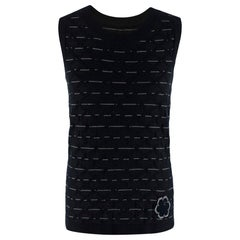 Chanel Black Camellia Embroidered Sleeveless Knit Vest - Size Estimated S