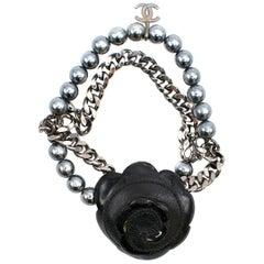 Chanel Black Camellia Faux Pearl & Chain Bracelet