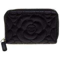 Chanel Black Camellia Leather Zip Around Coin Purse