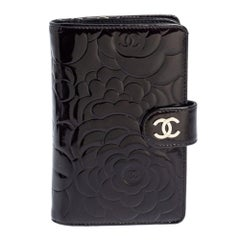 Chanel Black Camellia Patent Leather L-Zip Pocket Wallet