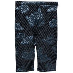 Chanel Black Camellia Pattern Embossed Stretch Jersey Shorts M