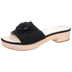 Chanel Black Canvas Camellia Wooden Platform Sandals Size 39