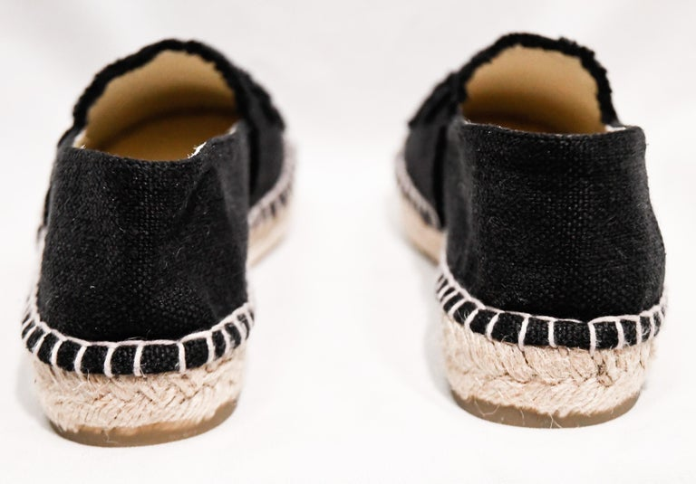Women's Chanel Black Canvas Espadrilles With CC Fringed on Vamps For Sale