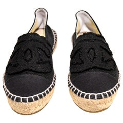 Chanel Black Canvas Espadrilles With CC Fringed on Vamps