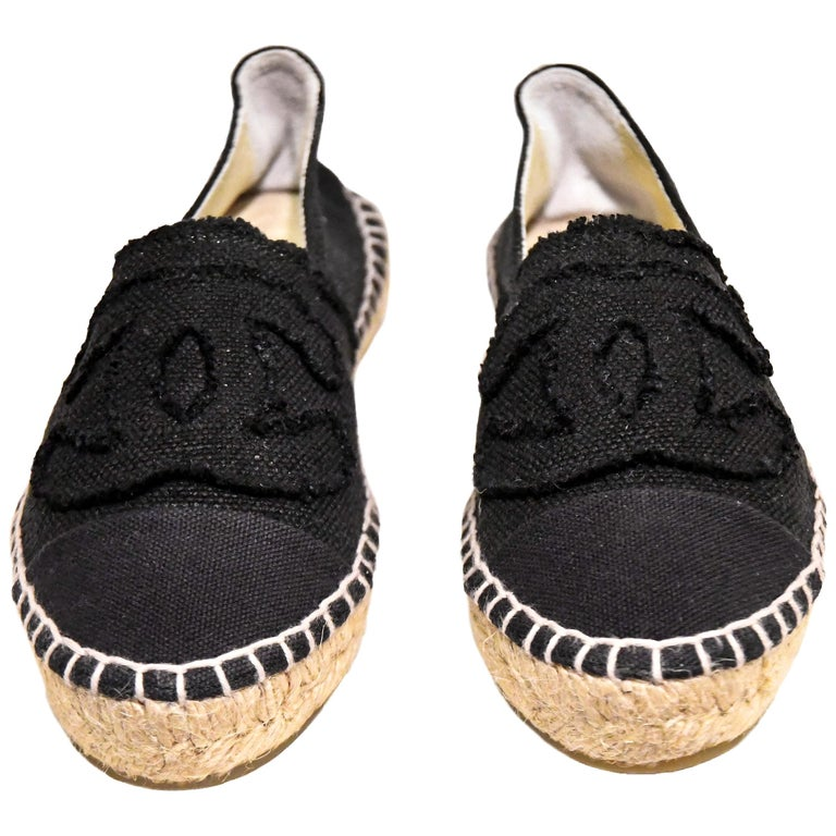 Chanel Black Canvas Espadrilles With CC Fringed on Vamps For Sale