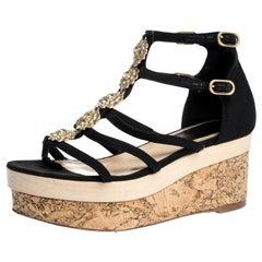 Chanel Black Canvas Fabric Flower Embellished Strappy Cork Platform Sandals Size