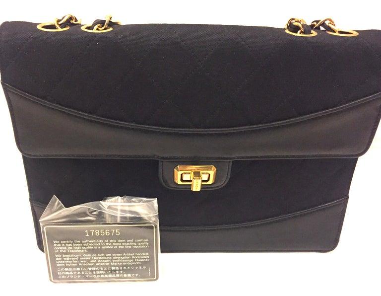 Chanel black canvas/leather shoulder bag  For Sale 6