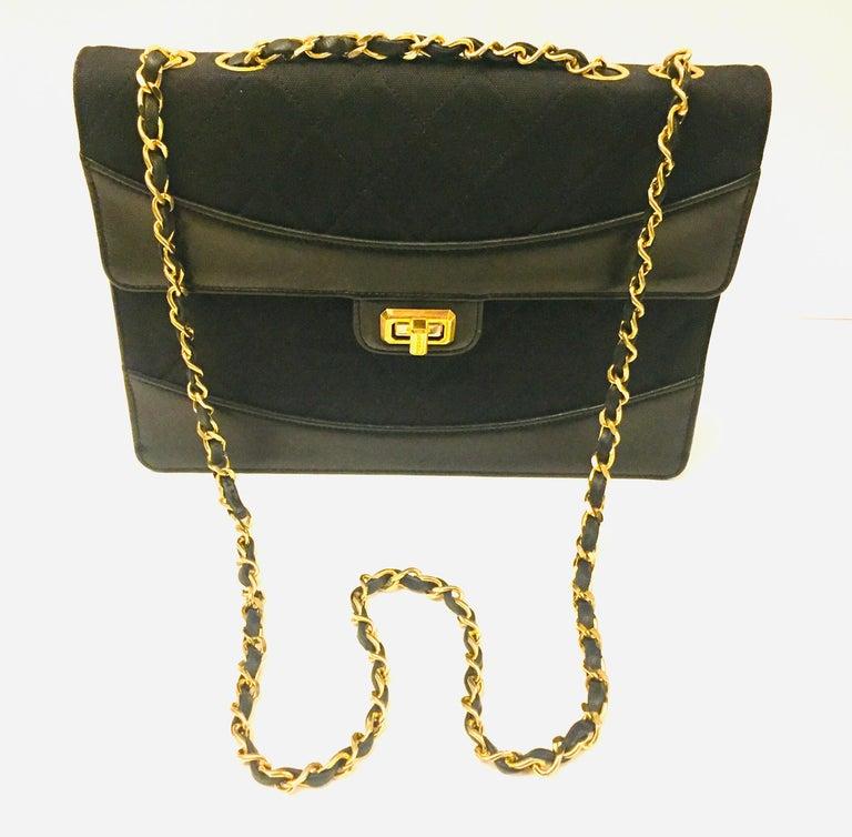Women's Chanel black canvas/leather shoulder bag  For Sale
