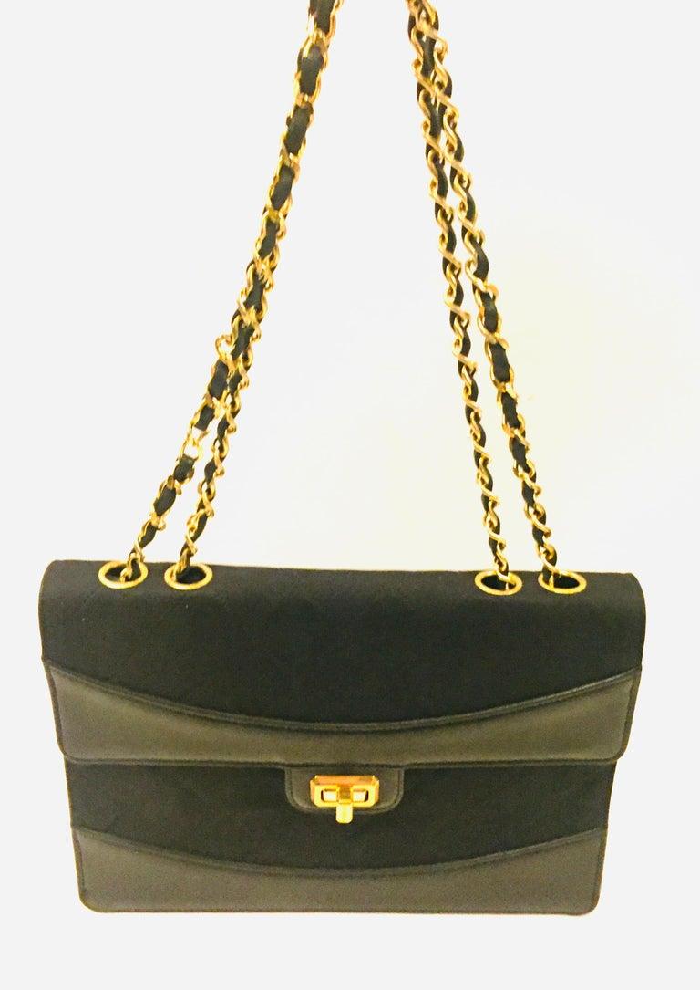 Chanel black canvas/leather shoulder bag  For Sale 1