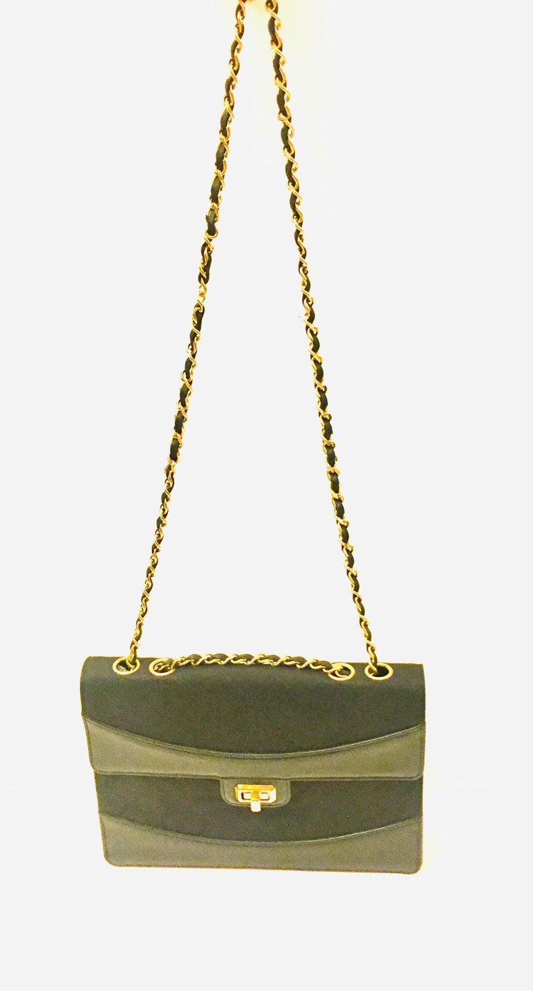Chanel black canvas/leather shoulder bag  For Sale 2