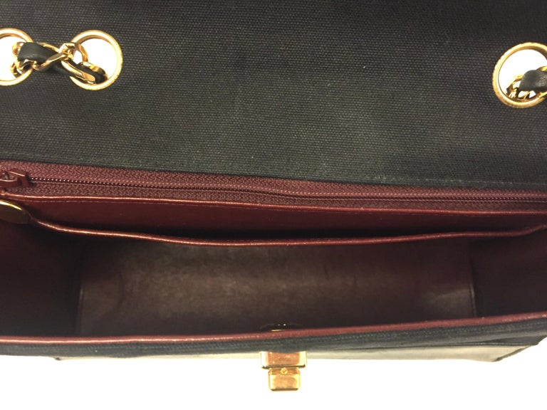 Chanel black canvas/leather shoulder bag  For Sale 4