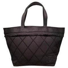 Chanel Black Canvas Raw Edge Tote Bag