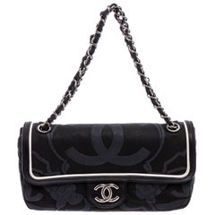 Chanel Black Canvas White Leather Trim Camellia Embossed Flap Shoulder Bag