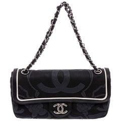 Chanel Black Canvas White Leather Trim Camellia Embossed Flap Shoulder Bag