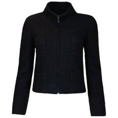 Chanel Black Cashmere Four-Pocket Zip-Up Jacket sz 36