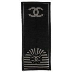 Chanel Black Cashmere Logo Shawl Scarf